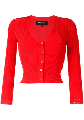 Paule Ka V-neck perforated detail cardigan - Red