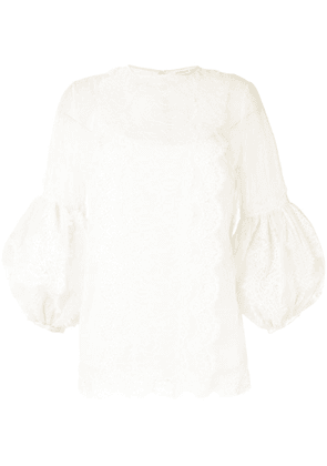 Andrew Gn mesh lace-embellished blouse - White