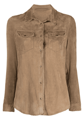 Salvatore Santoro frayed shirt jacket - Brown