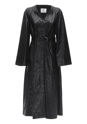 Maxi Moon Embossed Leather Trench Coat