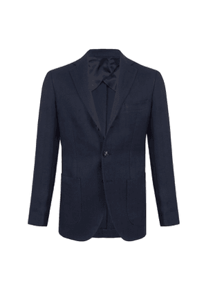 Navy Blue Linen-Cotton Single-Breasted Jacket