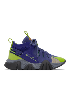 Versace Blue and Green Squalo Hiker Sneakers