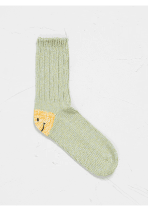 Kapital 56Yarn 3x1Rib Heel Smile Socks Green
