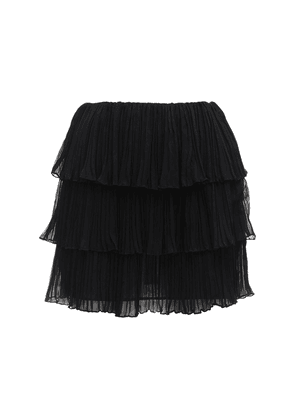 Pleated Georgette Crepe Mini Skirt