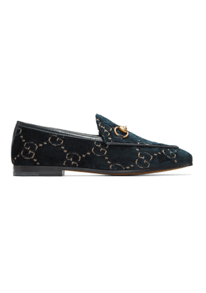 Gucci Blue Velvet GG New Jordaan Loafers