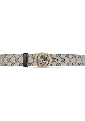 Gucci GG Supreme belt with G buckle - Brown