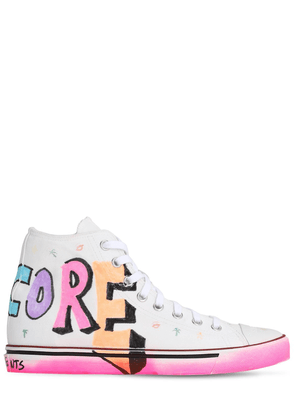 Painted Canvas High Top Sneakers