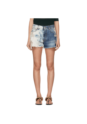 Givenchy Blue Two-Tone Distressed Denim Shorts