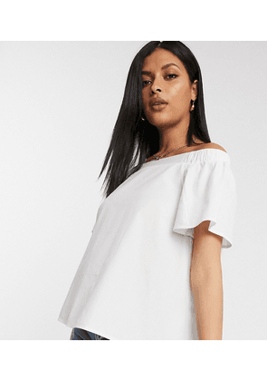 ASOS DESIGN Maternity cotton off shoulder top in Ivory-White