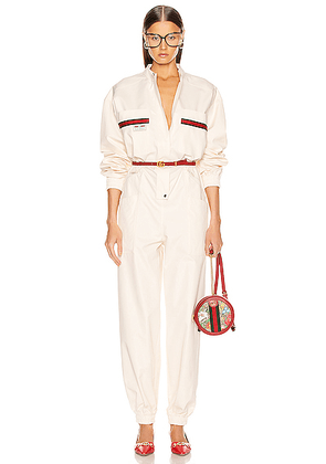 Gucci Long Sleeve Jumpsuit in Ivory & Multicolor - White. Size M (also in XS).