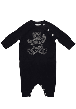 Embroidered Bear Cotton Knit Romper