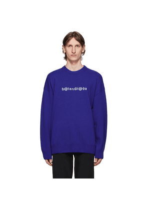 Balenciaga Blue Logo Crewneck Sweater