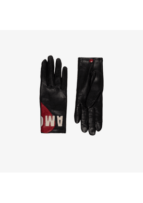 Agnelle Womens Black Amour Tactile Leather Gloves