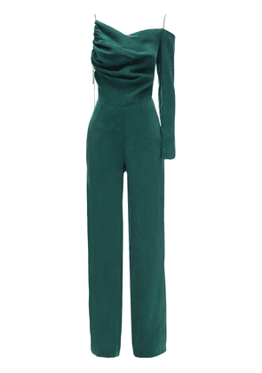One-sleeve Washed Satin Jumpsuit