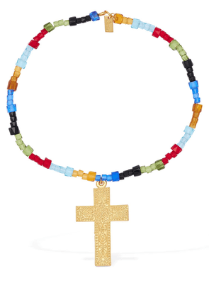Arya Short Beaded Necklace W/ Crucifix
