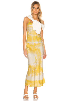 DANNIJO Embroidered Slip Dress in Yellow. Size S,M,L.