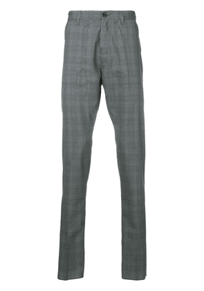 Eleventy checked tapered trousers - Grey