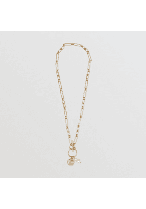 Burberry Resin Pearl Gold-plated Chain-link Necklace, Yellow