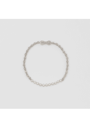 Burberry Pearl Detail Bicycle Chain Palladium-plated Necklace, Grey