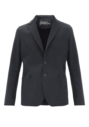 Herno - Single-breasted Bonded-jersey Blazer - Mens - Navy