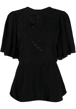 Isabel Marant draped sleeves embroidered top - Black