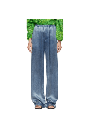 Balenciaga Indigo Satin Acid Wash Lounge Pants