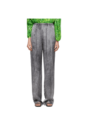 Balenciaga Black Satin Acid Wash Lounge Pants