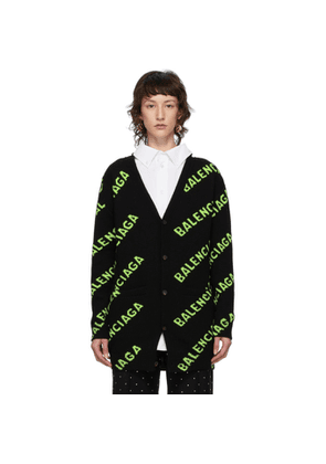 Balenciaga Black and Green All Over Logo Cardigan