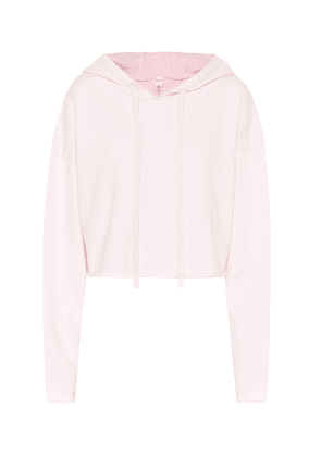Edge cotton-blend cropped hoodie