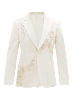Alexander Mcqueen - Floral-embroidered Wool-twill Suit Jacket - Mens - Ivory