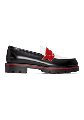 Christian Louboutin Black and White Monocroc Flat Loafers