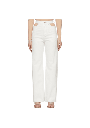 Maison Margiela White Wide-Leg Cut-Out Jeans
