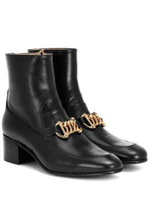 Horsebit Chain leather ankle boots