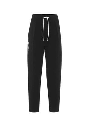 Pleated embroidered trackpants