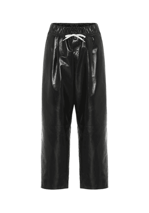 Cropped high-rise leather pants