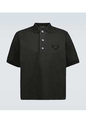Jersey polo with tonal logo