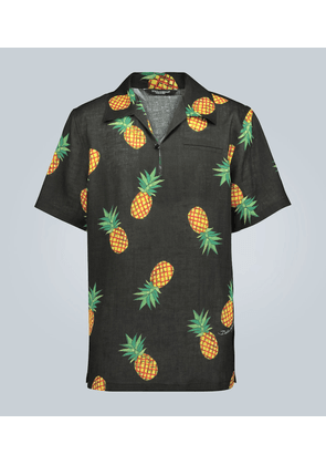 Pineapple printed linen shirt