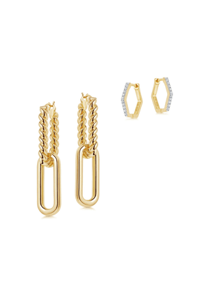 Gold Radial Ovate Hoops Earring Set