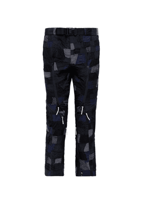 99%IS- - Belted Patchwork Embroidered Stretch-nylon Trousers - Black