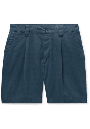 Albam - Slim-fit Garment-dyed Pleated Cotton-ripstop Shorts - Blue