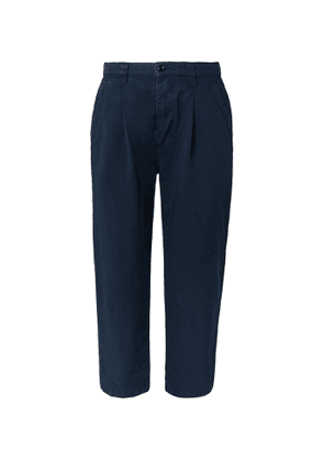 Albam - Wide-leg Pleated Linen And Cotton-blend Trousers - Blue