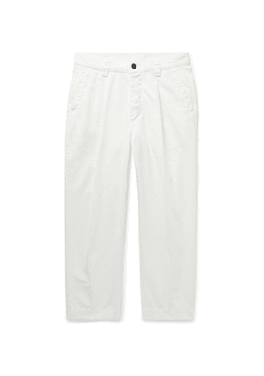 Albam - Tapered Pleated Cotton-ripstop Trousers - Neutrals