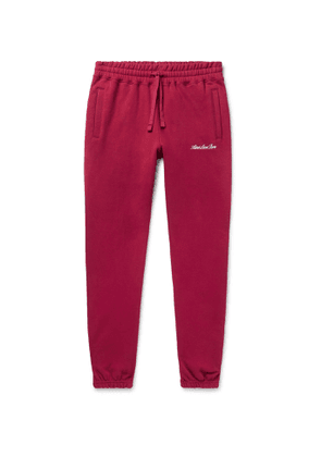 Aimé Leon Dore - Tapered Logo-Embroidered Loopback Cotton-Jersey Sweatpants - Men - Red
