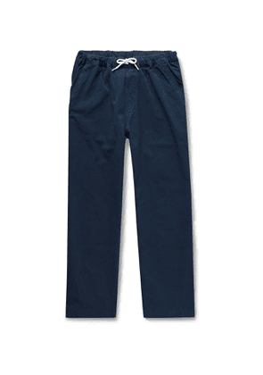 Albam - Tapered Cotton-ripstop Drawstring Trousers - Blue