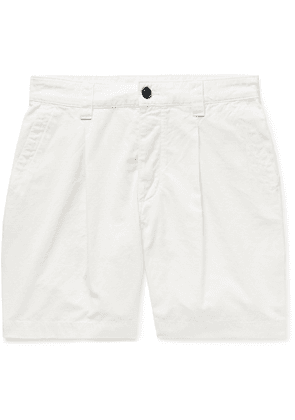 Albam - Slim-fit Garment-dyed Pleated Cotton-ripstop Shorts - White