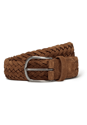 Anderson's - 4cm Tan Woven Suede Belt - Brown