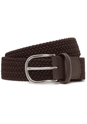 Anderson's - 3.5cm Brown Leather-trimmed Woven Elastic Belt - Brown