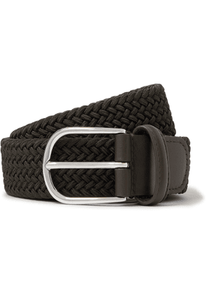 Anderson's - 3.5cm Black Leather-trimmed Woven Elastic Belt - Green