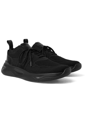 Berluti - Shadow Leather-trimmed Stretch-knit Sneakers - Black