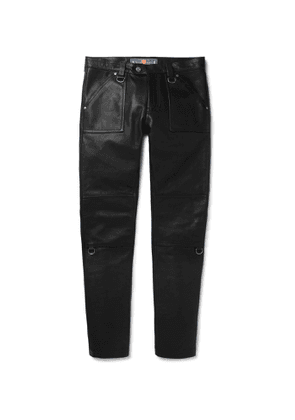 Blackmeans - Slim-fit Panelled Leather Trousers - Black